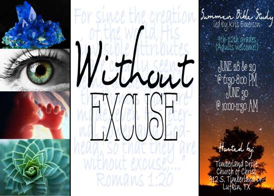 """""""Without Excuse"""" - Summer Bible Study with Kris Emerson"""